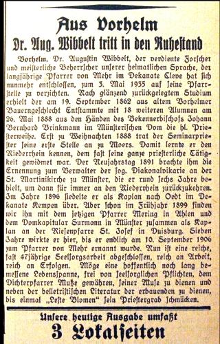 Ein Zeitungsartikel aus der AV von 1935